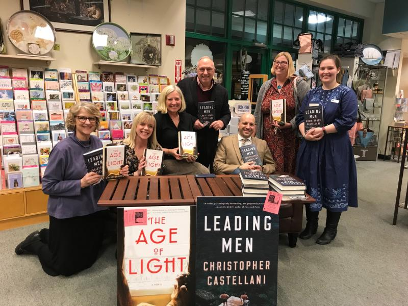 L to R, Events Coordinator Totsie, Whitney Scharer, Store Owner Kathy, our Penguin Sales Rep Karl, Chris Castellani, our Hachette Sales Rep Katrina, and Book Manager Gwendolyn